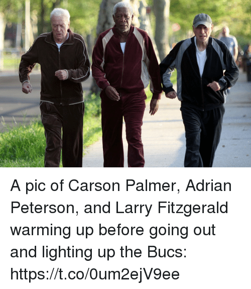 Adrian Peterson, Carson Palmer, and Larry Fitzgerald: A pic of Carson Palmer, Adrian Peterson, and Larry Fitzgerald warming up before going out and lighting up the Bucs: https://t.co/0um2ejV9ee
