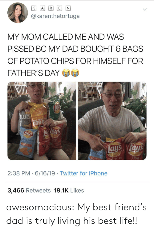 potato chips: A R E N  K  @karenthetortuga  MY MOM CALLED ME AND WAS  PISSED BC MY DAD BOUGHT 6 BAGS  OF POTATO CHIPS FOR HIMSELF FOR  FATHER'S DAY  way  Su  OTATO CHIP  AR & SOUR CREA N  GED  lays  Fl hile  mon  ightly Salted  ays ays  ighty Salted  Chile  CA  ar  min'Hot  2:38 PM 6/16/19 Twitter for iPhone  3,466 Retweets 19.1K Likes awesomacious:  My best friend's dad is truly living his best life!!