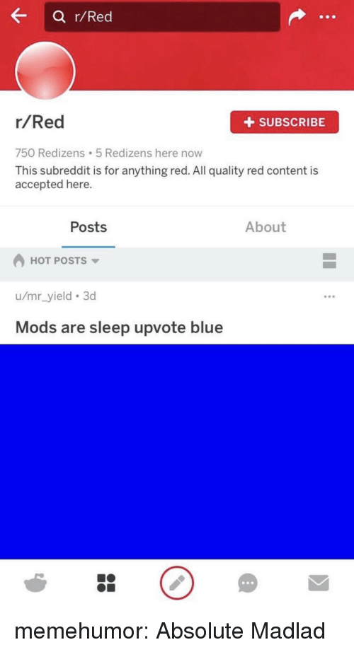 Tumblr, Blog, and Blue: a r/Red  r/Red  +SUBSCRIBE  750 Redizens 5 Redizens here now  This subreddit is for anything red. All quality red content is  accepted here.  Posts  About  HOT POSTS  u/mr_yield 3d  Mods are sleep upvote blue memehumor:  Absolute Madlad