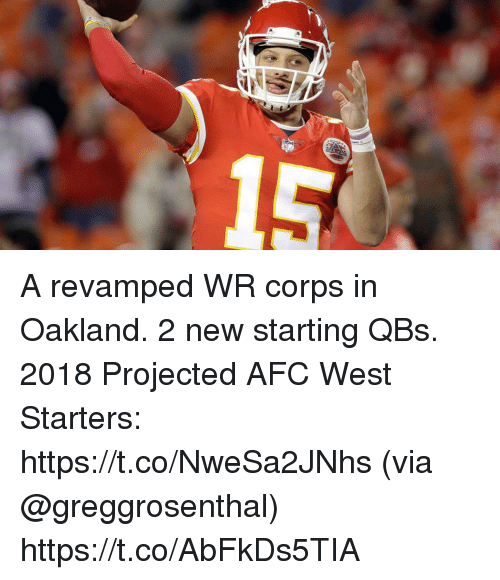Memes, 🤖, and Via: A revamped WR corps in Oakland. 2 new starting QBs.  2018 Projected AFC West Starters: https://t.co/NweSa2JNhs (via @greggrosenthal) https://t.co/AbFkDs5TIA