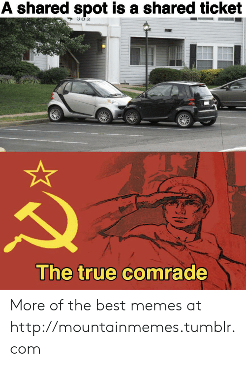 Memes, True, and Tumblr: A shared spot is a shared ticket  303  The true comrade More of the best memes at http://mountainmemes.tumblr.com