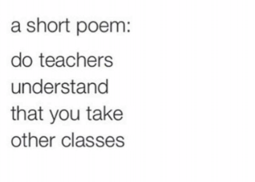 Teachers, You, and Poem: a short poem:  do teachers  understand  that you take  other classes