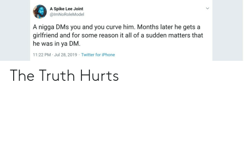 joint: A Spike Lee Joint  @ImNoRoleMoel  A nigga DMs you and you curve him. Months later he gets a  girlfriend and for some reason it all of a sudden matters that  he was in ya DM.  11:22 PM Jul 28, 2019 Twitter for iPhone The Truth Hurts
