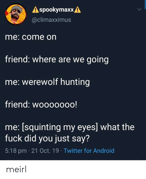 Hunting: A spookymaxx A  @climaxximus  me: come on  friend: where are we going  me: werewolf hunting  friend: wooooooo!  me: [squinting my eyes] what the  fuck did you just say?  5:18 pm 21 Oct. 19 Twitter for Android meirl