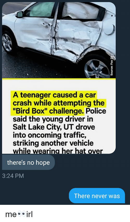 "Police, Traffic, and Hope: A teenager caused a car  crash while attempting the  ""Bird Box"" challenge. Police  said the young driver in  Salt Lake City, UT drove  into oncoming traffic,  striking another vehicle  while wearing her hat over  there's no hope  3:24 PM  There never was"