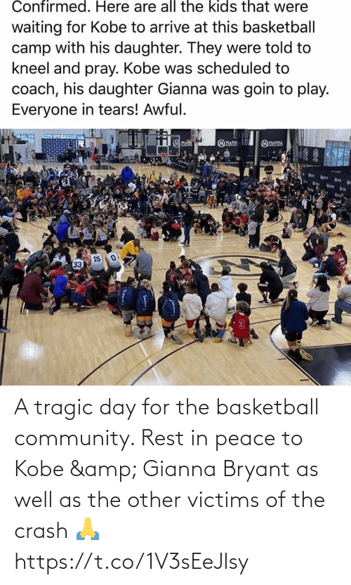 crash: A tragic day for the basketball community. Rest in peace to Kobe & Gianna Bryant as well as the other victims of the crash 🙏 https://t.co/1V3sEeJlsy