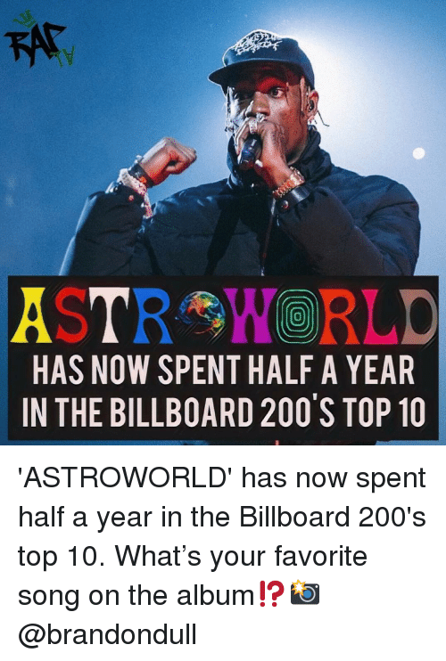Billboard: A TRY,WORLD  HAS NOW SPENT HALF A YEAR  IN THE BILLBOARD 200 S TOP 10  0 'ASTROWORLD' has now spent half a year in the Billboard 200's top 10. What's your favorite song on the album⁉️📸 @brandondull