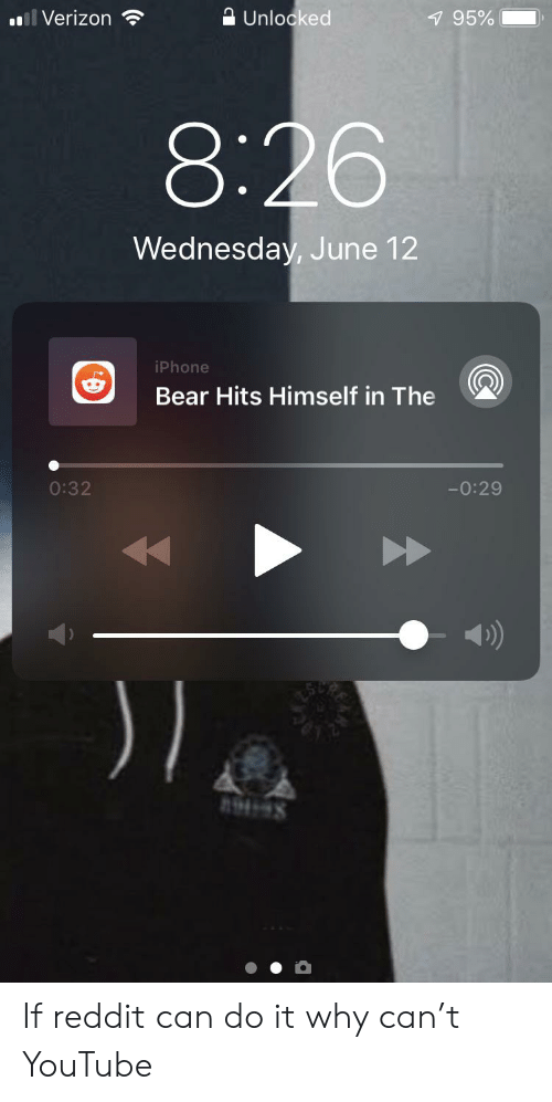 Iphone, Reddit, and Verizon: A Unlocked  l Verizon  795%  8:26  Wednesday, June 12  iPhone  Bear Hits Himself in The  0:32  -0:29 If reddit can do it why can't YouTube