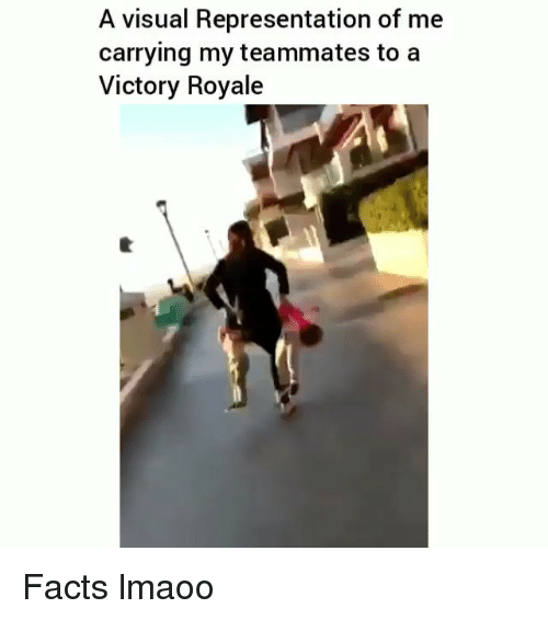 Facts, Funny, and Visual: A visual Representation of me  carrying my teammates to a  Victory Royale Facts lmaoo