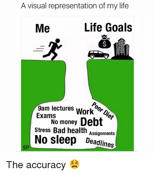 visualizer: A visual representation of my life  Me  Life Goals  9am lectures WorkDier  ExamSo money Debt  Stress Bad health  No sleep Deadlines  Assignments  SP The accuracy 😫