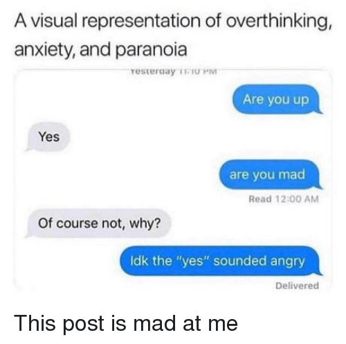 "Anxiety, Angry, and Mad: A visual representation of overthinking,  anxiety, and paranoia  Are you up  Yes  are you mad  Read 12:00 AM  Of course not, why?  Idk the ""yes"" sounded angry  Delivered This post is mad at me"