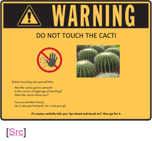 "Reddit, Husband, and Ask: A-WARNING  DO NOT TOUCH THE CACTI  Before touching ask yourself this:  Has the cactus given consent?  Is the cactus of legal age of touching?  Does the cactus know you?  You are not their friend.  He is not your husband. He is not your gf.  If a cactus verbally tells you ""go ahead and touch me"" then go for it. <p>[<a href=""https://www.reddit.com/r/surrealmemes/comments/8movoq/consent/"">Src</a>]</p>"