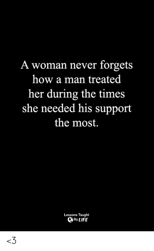 Life, Memes, and Never: A woman never forgets  how a man treated  her during the times  she needed his support  the most.  Lessons Taught  By LIFE <3