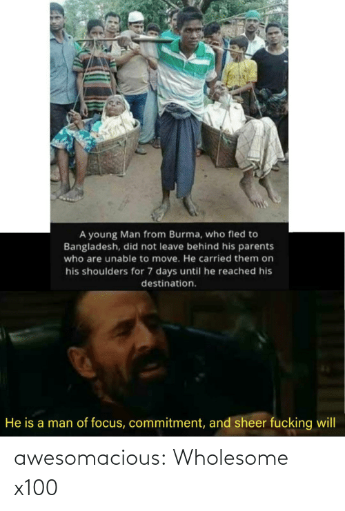 move: A young Man from Burma, who fled to  Bangladesh, did not leave behind his parents  who are unable to move. He carried them on  his shoulders for 7 days until he reached his  destination.  He is a man of focus, commitment, and sheer fucking will awesomacious:  Wholesome x100