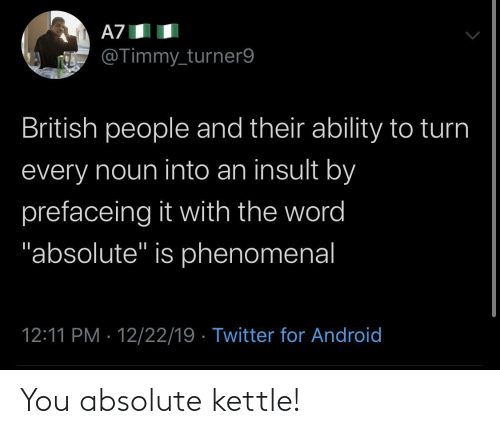 "The Word: A7  @Timmy_turner9  British people and their ability to turn  every noun into an insult by  prefaceing it with the word  ""absolute"" is phenomenal  12:11 PM · 12/22/19 · Twitter for Android You absolute kettle!"