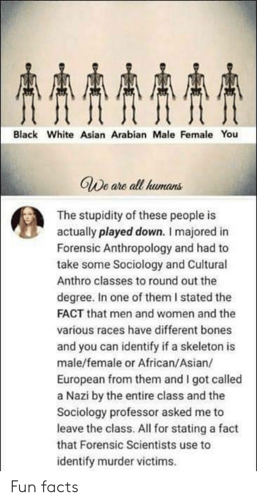 Fun Facts: AAAA  Black White Asian Arabian Male Female You  GWe are all humans  The stupidity of these people is  actually played down. I majored in  Forensic Anthropology and had to  take some Sociology and Cuitural  Anthro classes to round out the  degree. In one of them I stated the  FACT that men and women and the  various races have different bones  and you can identify if a skeleton is  male/female or African/Asian/  European from them and I got called  a Nazi by the entire class and the  Sociology professor asked me to  leave the class. All for stating a fact  that Forensic Scientists use to  identify murder victims Fun facts