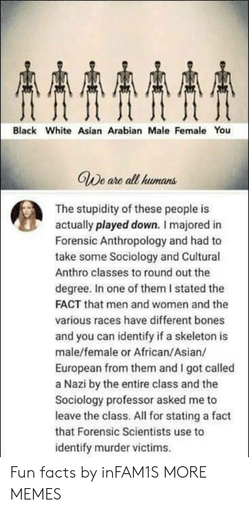 Fun Facts: AAAA  Black White Asian Arabian Male Female You  GWe are all humans  The stupidity of these people is  actually played down. I majored in  Forensic Anthropology and had to  take some Sociology and Cuitural  Anthro classes to round out the  degree. In one of them I stated the  FACT that men and women and the  various races have different bones  and you can identify if a skeleton is  male/female or African/Asian/  European from them and I got called  a Nazi by the entire class and the  Sociology professor asked me to  leave the class. All for stating a fact  that Forensic Scientists use to  identify murder victims Fun facts by inFAM1S MORE MEMES