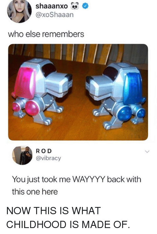 Dank, Back, and 🤖: aaanxo  @xoShaaan  who else remembers  ROD  @vibracy  You just took me WAYYYY back with  this one here NOW THIS IS WHAT CHILDHOOD IS MADE OF.