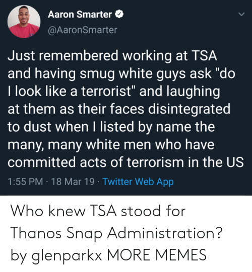 """Dank, Memes, and Target: Aaron Smarter  @AaronSmarter  Just remembered working at TSA  and having smug white guys ask """"do  l look like a terrorist"""" and laughing  at them as their faces disintegrated  to dust when I listed by name the  many, many white men who have  committed acts of terrorism in the US  1:55 PM 18 Mar 19 Twitter Web App Who knew TSA stood for Thanos Snap Administration? by glenparkx MORE MEMES"""