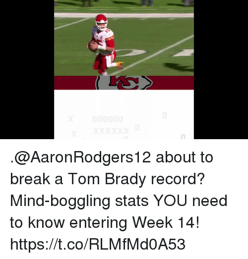 Memes, Tom Brady, and Break: .@AaronRodgers12 about to break a Tom Brady record?  Mind-boggling stats YOU need to know entering Week 14! https://t.co/RLMfMd0A53