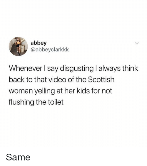 Memes, Kids, and Video: abbey  @abbeyclarkkk  Whenever I say disgusting l always think  back to that video of the Scottish  woman yelling at her kids for not  flushing the toilet Same