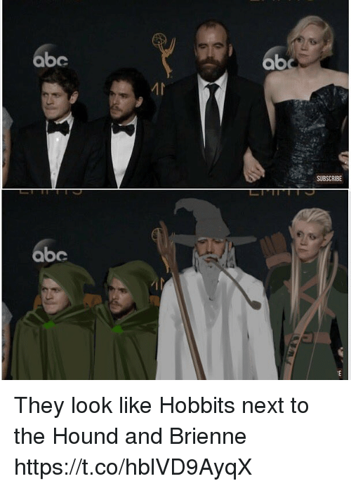 Abc, The Hound, and Next: abc  ab  SUBSCRIBE  abe They look like Hobbits next to the Hound and Brienne https://t.co/hblVD9AyqX
