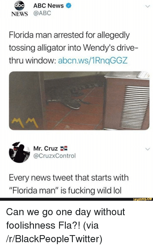 """Abc, Blackpeopletwitter, and Florida Man: ABC News  abc  NEWS @ABC  Florida man arrested for allegedly  tossing alligator into Wendy's drive-  thru window: abcn.ws/1RnqGGZ  Mr. Cruz  @CruzxControl  Every news tweet that starts with  """"Florida man"""" is fucking wild lol  ifunny.ce <p>Can we go one day without foolishness Fla?! (via /r/BlackPeopleTwitter)</p>"""