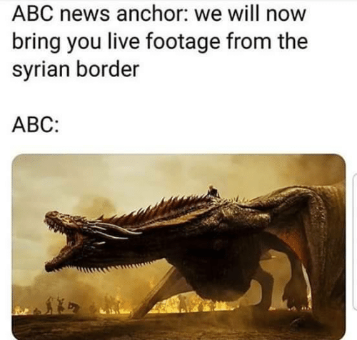 Border: ABC news anchor: we will now  bring you live footage from the  syrian border  АВС: