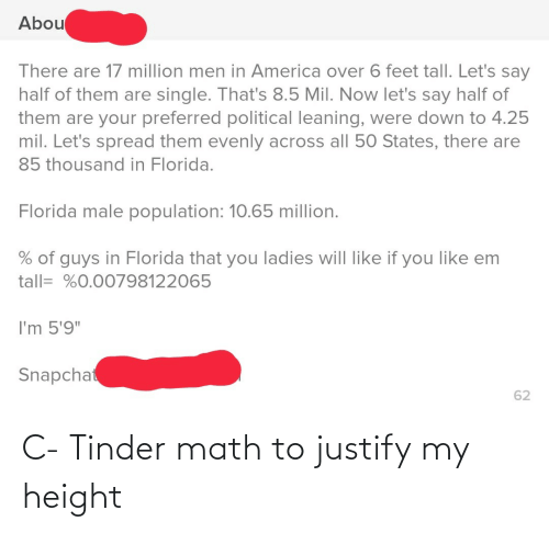 "Snapchat: Abou  There are 17 million men in America over 6 feet tall. Let's say  half of them are single. That's 8.5 Mil. Now let's say half of  them are your preferred political leaning, were down to 4.25  mil. Let's spread them evenly across all 50 States, there are  85 thousand in Florida.  Florida male population: 10.65 million.  % of guys in Florida that you ladies will like if you like em  tall= %0.00798122065  I'm 5'9""  Snapchat  62 C- Tinder math to justify my height"