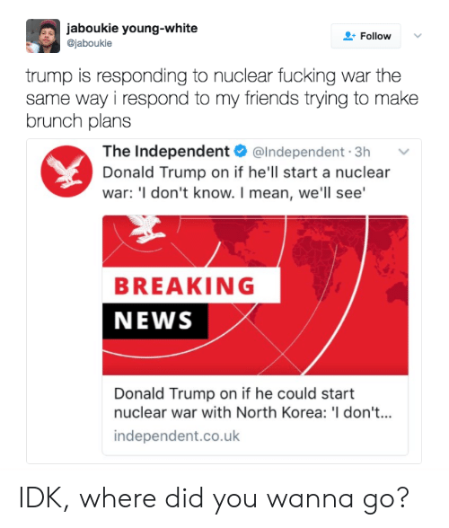 Donald Trump On: aboukie young-white  @jaboukie  FollowV  trump is responding to nuclear fucking war the  same way i respond to my friends trying to make  brunch plans  The Independent @Independent.3h v  Donald Trump on if he'll start a nuclear  war: 'I don't know. I mean, we'll see'  BREAKING  NEWS  Donald Trump on if he could start  nuclear war with North Korea: 'I don't...  independent.co.uk IDK, where did you wanna go?
