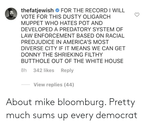 pretty: About mike bloomburg. Pretty much sums up every democrat