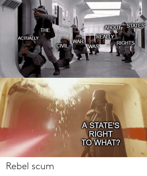 Rights: ABOUT STATES  THE  REALLY  ACTUALLY  WAR  RIGHTS  CIVIL  WAS  A STATE'S  RIGHT  TO WHAT? Rebel scum