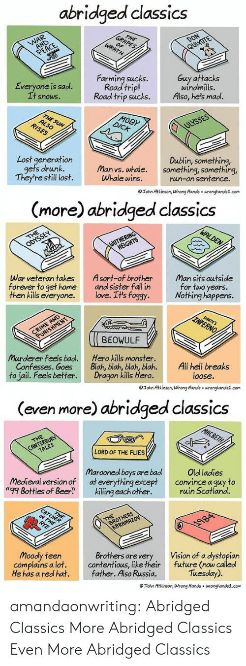 "Something Something: abridged classics  Everyone is sad.  t snowS.  Farming sucks.  Road trip!  Road trip sucks.  Guy attacks  windmills.  Also, he's mad.  MOBy  Lost generation  Dublin, something,  s drunk. Man vs. whale. something, something,  They're still lost.  Whale wins.  run-on sentence  Tohn Atkinson, Wrong Hands wronghands1.com   (more) abridged classics  War veteran takes  forever to get home  then kills everyone.  Asort-of brother  and sister fall in  love. It's foggy  Man sits outside  for two years.  Nothing happens.  BEOWULF  Murderer feels bad.  Confesses. Goes  to jail. Feels better.  Hero kills monster.  Blah, blah, blah, blah.All hell breaks  Dragon kills Hero.  loose.  Tohn Atkinson, Wrong Hands wronghandis1.com   (even more) abridged classics  LORD OF THE FLIES  Marooned boys are bad  medieval version of at everything except  ""'99 Bottles of Beerkilling eachother.  Old ladies  convince a guy to  ruin Scotland.  Moody teen  complains a lot.  He has a red hat.  Brothers arevery  contentious, like their  father. Also Russia.  Vision of a dystopian  future (now called  Tuesday).  Tohn Atkinson, Wrong Hands wronghands1.com amandaonwriting:  Abridged Classics More Abridged Classics Even More Abridged Classics"