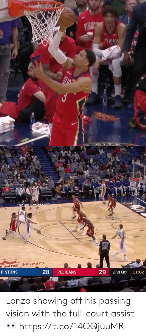 Pelicans: ACA   42  HIE KING  28  29  PISTONS  PELICANS  2nd Qtr 11:02 Lonzo showing off his passing vision with the full-court assist👀 https://t.co/14OQjuuMRl