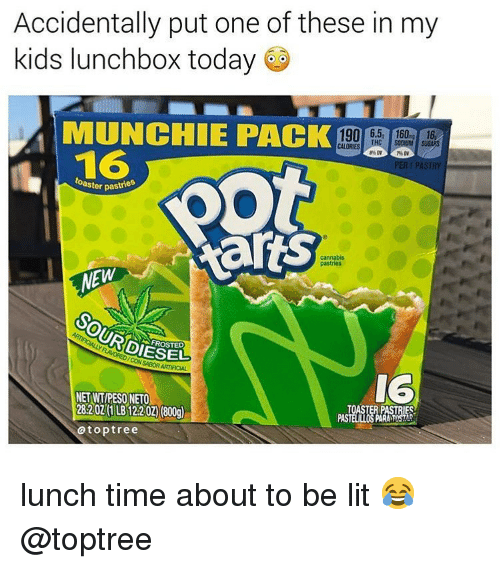 Lit, Weed, and Diesel: Accidentally put one of these in my  kids lunchbox today  MUNCHIE PACK190  1906.5 16016  16  RTP  oaster pas  cannabis  pastrios  EW  DIESEL  FROSTED  IG  NET WT/PESO NETO  28:202 (1 LB12202) (800)  RiP  atoptree lunch time about to be lit 😂 @toptree