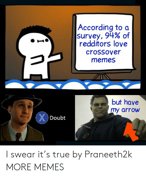 Arrow: According to a  survey, 94% of  redditors love  crossover  memes  but have  my arrow  XDoubt I swear it's true by Praneeth2k MORE MEMES