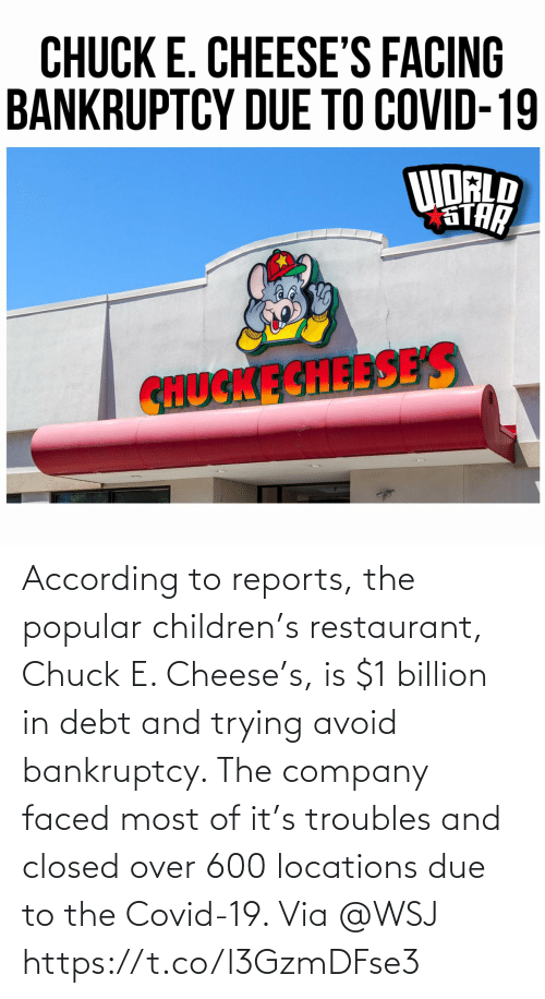 Locations: According to reports, the popular children's restaurant, Chuck E. Cheese's, is $1 billion in debt and trying avoid bankruptcy. The company faced most of it's troubles and closed over 600 locations due to the Covid-19.  Via @WSJ https://t.co/l3GzmDFse3