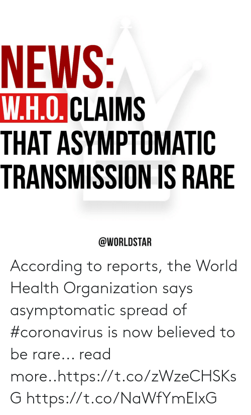 Coronavirus: According to reports, the World Health Organization says asymptomatic spread of #coronavirus is now believed to be rare... read more..https://t.co/zWzeCHSKsG https://t.co/NaWfYmEIxG