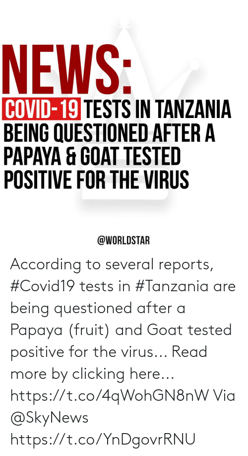 virus: According to several reports, #Covid19 tests in #Tanzania are being questioned after a Papaya (fruit) and Goat tested positive for the virus... Read more by clicking here... https://t.co/4qWohGN8nW Via @SkyNews https://t.co/YnDgovrRNU
