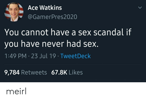 Scandal: Ace Watkins  @GamerPres2020  You cannot have a sex scandal if  you have never had sex.  1:49 PM 23 Jul 19 TweetDeck  9,784 Retweets 67.8K Likes meirl