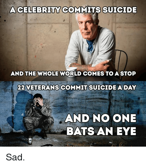 Memes, Suicide, and World: ACELEBRITY COMMITS SUICIDE  AND THE WHOLE WORLD COMES TO A STOP  22 VETERANS COMMIT SUICIDE A DAY  AND NO ONE  BATS AN EYE Sad.