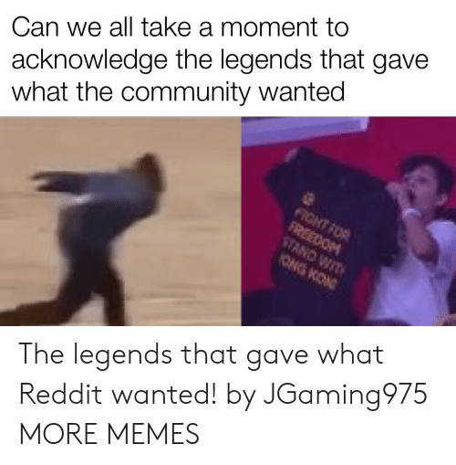 legends: acknowledge the legends that gave  what the community wanted  Can we all take a moment to  FIGHT FOR  FREEDOM  STAND WIT  ONG KON The legends that gave what Reddit wanted! by JGaming975 MORE MEMES