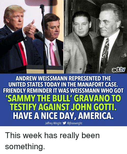 America, Memes, and Today: act.tv  ANDREW WEISSMANN REPRESENTED THE  UNITED STATES TODAY IN THE MANAFORT CASE  FRIENDLY REMINDER IT WAS WEISSMANN WHO GOT  SAMMY THE BULL' GRAVANO TO  TESTIFY AGAINST JOHN GOTTI  HAVE A NICE DAY, AMERICA.  Jeffrey Wright步@jfreewright This week has really been something.