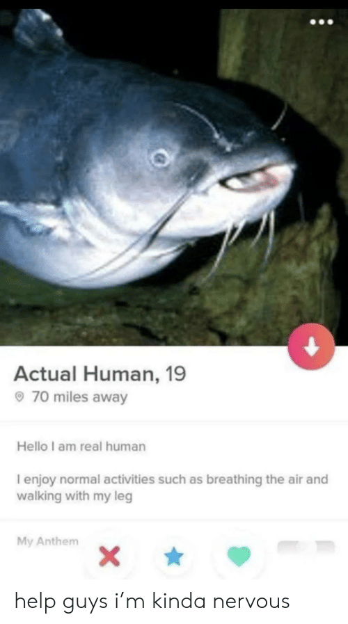 Hello, Help, and Human: Actual Human, 19  70 miles away  Hello I am real human  I enjoy normal activities such as breathing the air and  walking with my leg  My Anthem  X\ help guys i'm kinda nervous