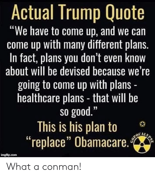"Memes, Good, and Obamacare: Actual Trump Quote  ""We have to come up, and we can  come up with many different plans.  In fact, plans you don't even know  about will be devised because we're  going to come up with plans  healthcare plans - that will be  so good  This is his plan to 3  ""replace"" Obamacare.  13 What a conman!"