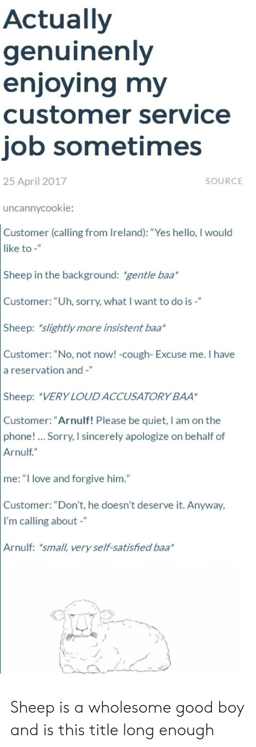 """Hello, Love, and Phone: Actually  genuinenly  enjoying my  customer service  job sometimes  25 April 2017  SOURCE  uncannycookie:  Customer (calling from Ireland): """"Yes hello, I would  like to -""""  Sheep in the background: gentle baa*  Customer: """"Uh, sorry, what I want to do is-""""  Sheep: slightly more insistent baa*  Customer: """"No, not now! -cough- Excuse me. I have  a reservation and -""""  Sheep: VERY LOUDACCUSATORY BAA  Customer: """"Arnulf! Please be quiet, I am on the  phone!... Sorry, I sincerely apologize on behalf of  Arnulf""""  me: """"I love and forgive him.""""  Customer: """"Don't, he doesn't deserve it. Anyway,  I'm calling about -""""  Arnulf: small, very self-satisfied baa Sheep is a wholesome good boy and is this title long enough"""