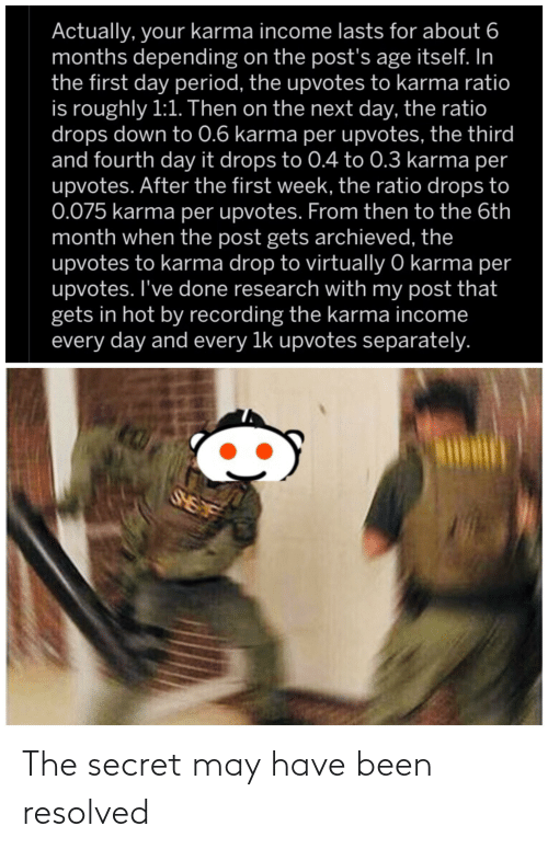 The Ratio: Actually, your karma income lasts for about 6  months depending on the post's age itself. In  the first day period, the upvotes to karma ratio  is roughly 1:1. Then on the next day, the ratio  drops down to 0.6 karma per upvotes, the third  and fourth day it drops to 0.4 to 0.3 karma per  upvotes. After the first week, the ratio drops to  0.075 karma per upvotes. From then to the 6th  month when the post gets archieved, the  upvotes to karma drop to virtually O karma per  upvotes. I've done research with my post that  gets in hot by recording the karma income  every day and every 1k upvotes separately.  SHEF The secret may have been resolved
