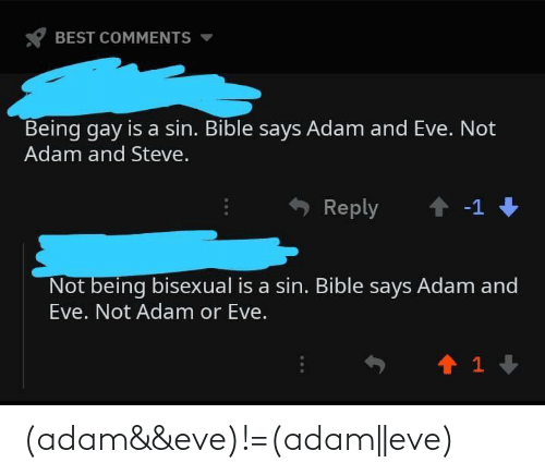 eve: (adam&&eve)!=(adam||eve)