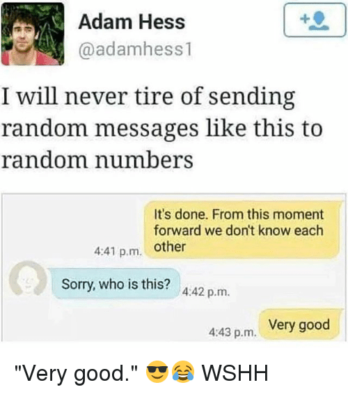 """momentous: Adam Hess  @adamhess 1  I will never tire of sending  random messages like this to  random number  It's done. From this moment  forward we don't know each  4:41 p.m. other  Sorry, who is this? A:42 p.m.  Very good  4:43 p.m. """"Very good."""" 😎😂 WSHH"""
