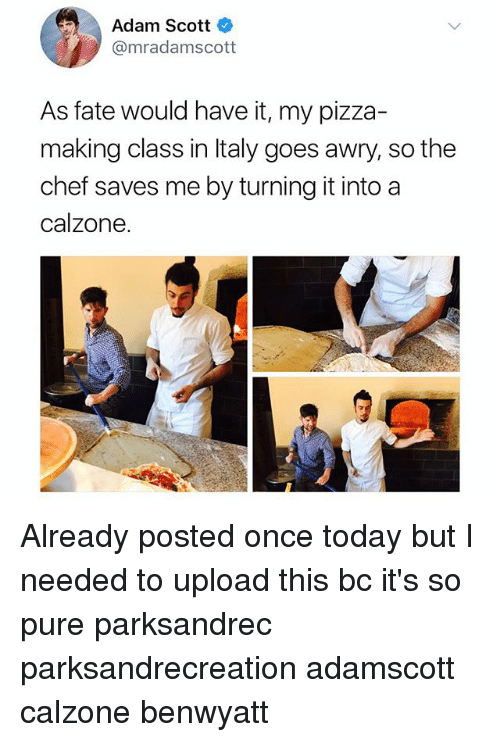 Adam Scott, Memes, and Pizza: Adam Scott  @mradamscott  As fate would have it, my pizza-  making class in Italy goes awry, so the  chef saves me by turning it into a  calzone Already posted once today but I needed to upload this bc it's so pure parksandrec parksandrecreation adamscott calzone benwyatt